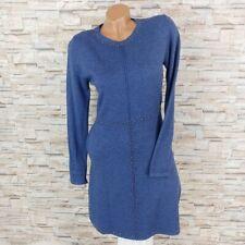 MADE IN ITALY Bodycon Strickkleid Winterkleid mit Nieten Perlen blau 34 36 38
