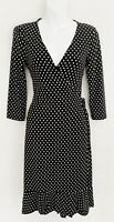 BCBG MAX AZRIA Women Wrap Dress Sz S Black White Polka Dot 3/4 Sleeve