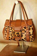 DOLCE & GABBANA LEOPARD PONY HAIR AND TAN LEATHER WINTER BAG IN EUC