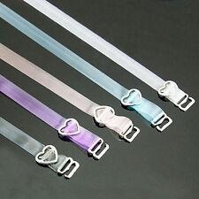 5 Paar BH Träger mit Herz Transparent Farbig Durchsichtig Silikon 38 cm x 1cm