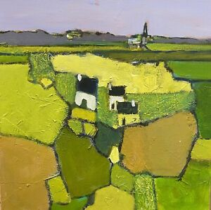 RENE LEROY -FRENCH CONTEMPORARY ABSTRACT CUBIST PAINTING - GREEN FIELDS