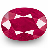 GRS Certified BURMA Ruby 2.59 Cts Natural Untreated Deep Pinkish Red Oval
