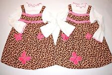Bonnie Jean girls leopard print corduroy dress sz 4T - 2 available twins sisters