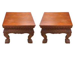 South Asian Burmese or Anglo-Indian Carved Wooden Stands