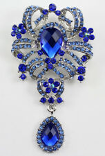 Blue Fine Austrian Rhinestone Crystal Designer Bridal Wedding Brooch Pin
