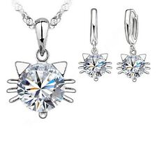 925 Sterling Silver KITTY Pendant Necklace and Earings Set - UK SELLER -