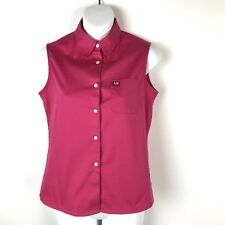 Polo Jeans Ralph Lauren Womens  Pink Pocket Sleeveless Button Up Top Small S