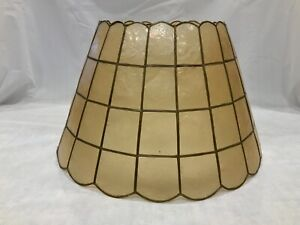 """Vintage 16 .5"""" x 10.25 Capiz Shell Lampshade Round Conical Drum Large Lamp Shade"""
