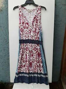 Lucky Brand Live In Love Women's L Boho Sleeveless Paisley Multicolor Dress