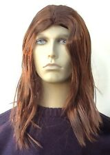 Hippy Style Brown Men's Extra Long Fancy Dress Wig