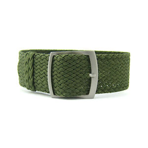 20mm 22mm Premium Olive Green Braided Nylon Perlon Watch Strap (Steel Buckle)