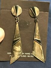 NAVAJO ONYX GEOMETRIC EARRINGS STERLING SILVER TRIANGLES CONCHO POST HANDCRAFTED