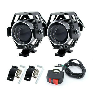 2PCS White Motorcycle Headlight Auxiliary Lamp LED Spotlight DRL Spot Head Light
