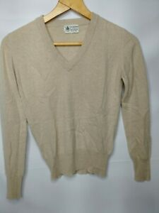 Vintage 100% Cashmere Pullover Sweater Womens S Beige Tan Cream Oatmeal Soft !