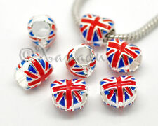 UK Union Jack British Flag European Charm Bead For Large Hole Charm Bracelets