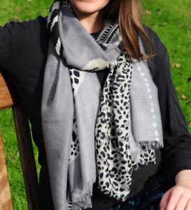 Tiger Print Grey Womens Fashion Scarf