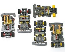 4pc+ 1991 TYCO TCR Red& Yellow Wheel WIDE Slot less Car Chassis Left+ Right Lane