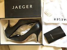 Jaeger Stilleto Black all Leather Diamante evening / Court Shoes size 40