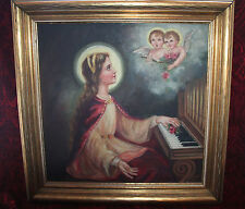 VTG St. Cecelia & 2 Cherubs Angels Oil Painting Canvas OOC Signed Religious