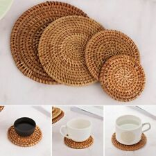 Round Natural Rattan Coasters Bowl Pad Handmade Table Decorations Accessories