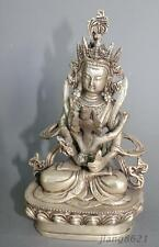 "7"" Collectible China Hold a baby Shakya Mani Silver Buddha Statue"