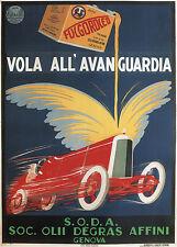 ITALIAN MOTOR OIL, 1928 Vintage Auto Advertising Poster CANVAS PRINT 24x32 in