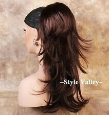 Dark Auburn Ponytail Hair Piece Long Straight Clip in on Extension Wavy Ends