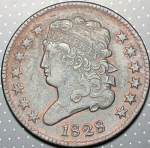 1828 13 Stars Classic Head Half Cent About Uncirculated AU Slider Original Red!!
