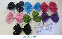Pink and Orange Girls Hazir Bow Boutique layered bows for Babies Toddler Glitter