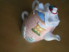 3 tier Individual Ceramic TeaPot Cup Stacked Russ Berrie Co Santa Chimney