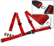 1 X Red 4 Point Racing Buckle Seat Belt Harness Fit For BMW NEW