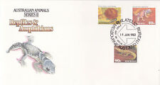 1982 FDC Australia. Reptiles & Amphibians. 3 stamps. Various FDI postmarks