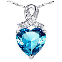 "Sterling Silver Pendant Necklace 6.06 CT Created Blue Topaz Gemstone,18"" Chain"
