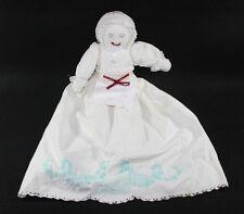 Vintage Cloth Pillowcase Doll Scalloped crochet Emroidery Rag Doll Primative