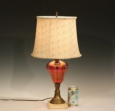 Antique Cranberry Electrified Oil Lamp Etched Cut to Clear Glass Marble Brass