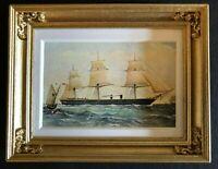"Framed Naval Print - H.M. STEAM FRIGATE ""WARRIOR""  Vintage Dollhouse 1:12"