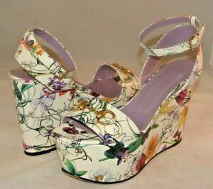 GUCCI Wedge Sandals Floral Leather Horsebit Platform Heels Sz 39 EU 9B US Italy