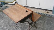 Antique Oak Folding School Desk With Ink Well