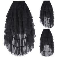 Victorian Gothic Steampunk Retro Women Costume Skirt Long Chiffon Punk Skirts