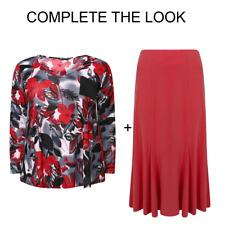 Übergrößen Damen V Ausschnitt Qualität Bedruckt Top mit Tasche + Rock oder Hose - 1002