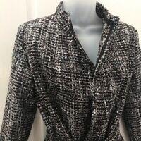 Women's BANANA REPUBLIC Factory Black Tweed Blazer/Jacket with Waist Tie Sz XS