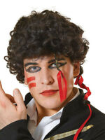 Mens Black Curly 1980s Pop Star Adam Ant Wig Prince Fancy Dress Accessory New