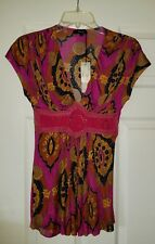 NWT 100% Auth SKY BRAND PINK & GOLD Silk Blouse Top SMALL!