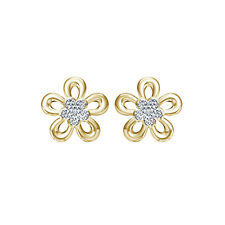 925 Sterling Silver White Real Diamond Glorious Flower Shape Womens Stud Earring