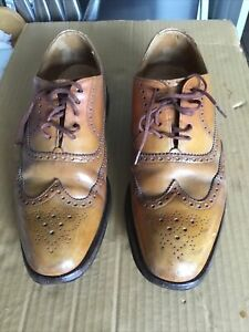 Cheaney Mens Shoes Size 9.5, Tan Brogues. Hand Made To Order Via Herrings Shoes