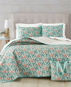 Martha Stewart Essentials 4-Pc. FULL/QUEEN Quilt Set and Tote Bag Spring Floral