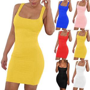 Womens Sexy Bodycon Mini Dress Ladies Slim Jumper Cami Tops Tunic Mini Dresses