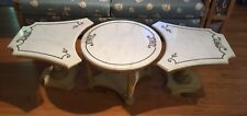 VINTAGE ITALIAN MARBLE TOP COCKTAIL/COFFEE TABLE Very Rare 3 Pieces Style