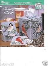 Snowy Perch Cardinal and Chickadee plastic canvas pattern