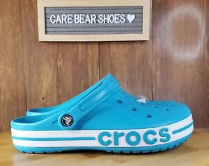 Crocs Bayaband Clog Aqua Blue MENS SZ 8 WOMENS 10 Logo White Teal Slip On